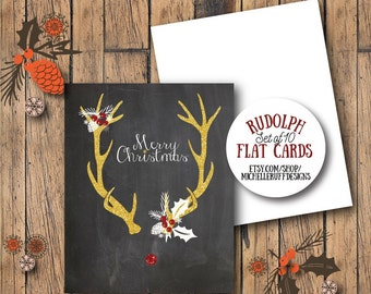 Christmas Card Chalkboard Rudolph Merry Christmas Flat Notecard Set of 10 with Envelopes Holiday Stationary