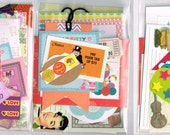 Snail Mail mini grab bag, cute fun random stationery set, pen pal kit, pocket letters kit, stickers postcard tags happy mail gift teen girl