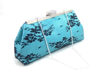 Bridesmaid Gift Clutch, Aqua Blue and Black Bridal Clutch, Wedding Clutch, Mother Of The Bride Gift, Bridal Shower Gift, Something Blue