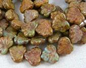 Maple Leaf Beads - Czech Glass Beads - Rustic Glass Maple Leaf - Brown & Green Maple Leaf (RJ2378) - 10x13mm - Qty. 8