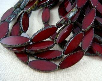 Czech Beads, Spindle Beads, Czech Glass Beads - Oxblood, Cranberry, Burgundy (SPI/RJ-0536) - 20x8mm - Qty. 8