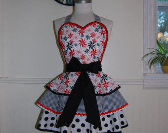 Red, White, and Black Pinup Rockabilly Full Retro 50s Circle Skirt Apron