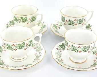 English Vintage Queen Anne Fine Bone China Christmas Ailsa Pattern Tea set for four - Mid Century