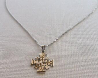 Jerusalem Cross in Sterling Silver, Cross Jewelry.