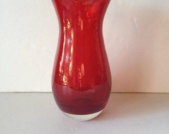 Red Glass Flower Vase