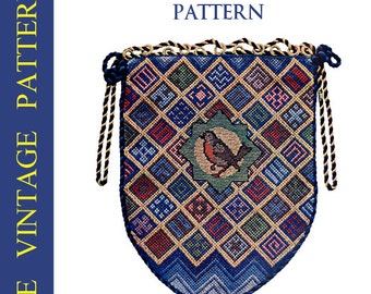 Rare Vintage EMBROIDERY PATTERN for a Canvas BAG with Sewing Instructions Plus Bonus 21 Stitches Tutorial Book Printable Instant Download