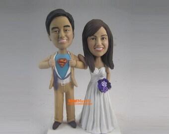 superman wedding cake topper bobblehead Custom Cake topper Wedding Cake Topper bobble head Custom wedding cake topper Wedding topper-CT E200