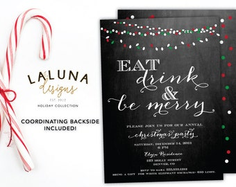 Christmas Party Invitation, Christmas Party Invite, Christmas Party Printable, Chalkboard Christmas Party, DIY Printable