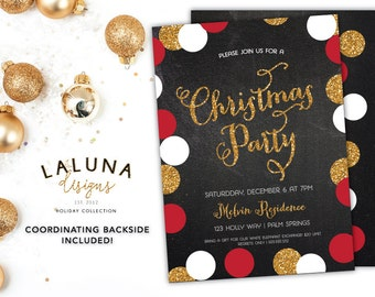 Christmas Party Invitation, Christmas Party Invites, Holiday Party Invites, Christmas Party Printable, Chalkboard Christmas Party
