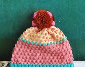 Strawberry Milkshake Detachable PomPom Beanie Hat | for men | for women | colorful & cozy | handmade unisex gift