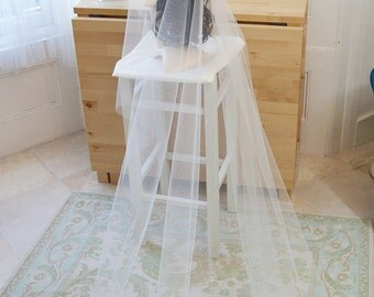 Couture bridal cap veil, 1920s style wedding veil, beaded lace, Florence