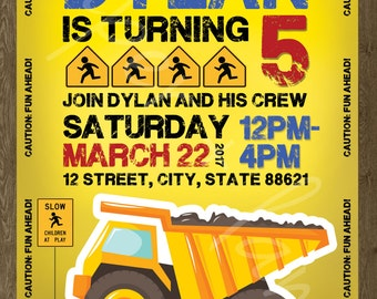 Tonka Truck Birthday Invitation - Any Age - Boy Birthday - Printable File