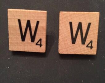 W Scrabble Tile Earrings