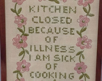 Vintage Cross Stitch Kitchen Humor Bohemian Retro Home Sick of Cooking Mid Century Kitchen Wall Decor Retro Home Mom & Grandmother Gift