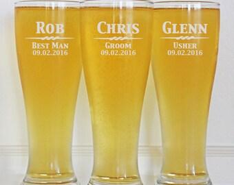 Groomsmen Gift, 5 Personalized Beer Glasses, 16oz Glasses, Custom Engraved Pilsner Glass, Wedding Party Gifts, Gifts for Groomsmen