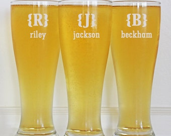 Personalized Groomsmen Gifts, Beer Glasses, Pint Glasses, Gifts for Groomsmen, 18 Custom Beer Mugs, 16oz Glassware, Wedding Toasting Glasses