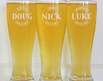 Groomsmen Gifts, 7 Personalized Beer Glasses, Custom Wedding Favors, Father of the Bride Gift, Gifts for Groomsmen, Personalized Glasses