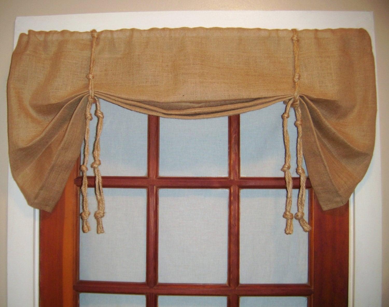 Burlap Tie Up Valance Kitchen Valance Curtains By Lamourhomedecor