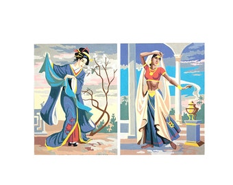 TWO Vintage Asian Paint By Number - Oriental & Indian Artwork - India Japan Painting - Chinoiserie Hollywood Regency - Geisha Indian Women
