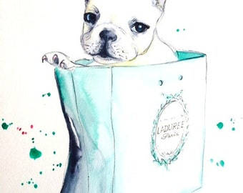 Frenchie and Macarons, Pet Watercolor Illustration, Paris Ladurée Art Print, Lana Moes' Wanderlust Illustration, French Home Decor