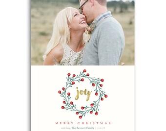 Christmas Card Photoshop Template for Photographers - 5x7 Flat Card - JOY - 1480