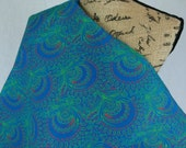 """Da Gama """"Three Cats"""" Shweshwe Fabric--Made in South Africa--Turquoise Paisley with Orange and Green--African Fabric by the HALF YARD"""