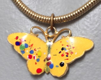 Cute Vintage Yellow Enamel Butterfly on Gold Tone Choker (retro 60s 70s necklace bright colorful summer spring speckled snake chain)