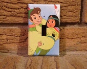 Peter Pan and Tiger Lily Light Switch Cover, Peter Pan Nursery, Peter Pan Wendy, Peter Pan Nursery, Peter Pan Decoration, Peter Pan Neverlan