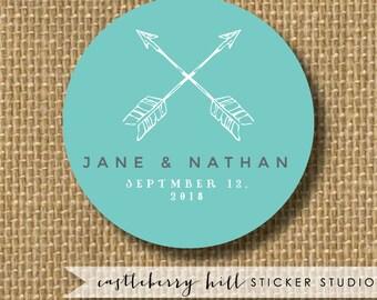 Arrow wedding stickers, wedding stickers for favors, arrow wedding logo stickers, wedding stickers personalized custom wedding labels