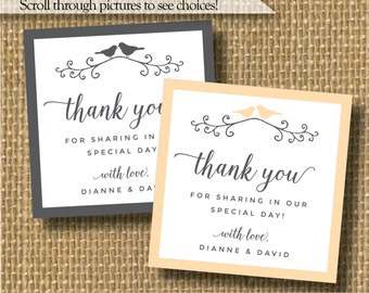 Bird wedding sticker, lovebird stickers, bird wedding favor stickers, wedding thank you stickers, thank you for coming to our wedding label