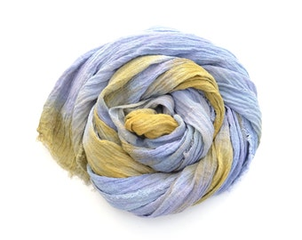 Organic Cotton Scarf hand dyed in blue and gold large cotton gauze wrap