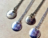 Initial Necklace: disc charm with customized / personalized hand stamped initial, letter, number or symbol