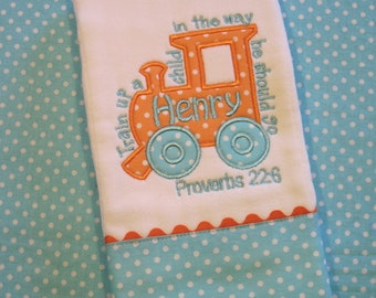 Personalized Baby Boy Burp Cloth -Train Up a Child Bible Verse