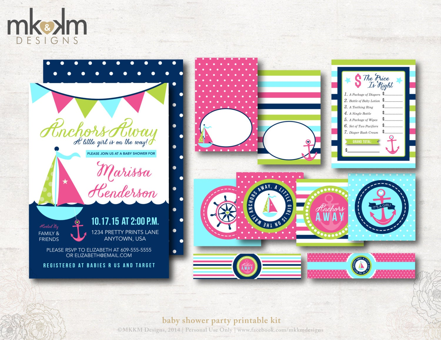 anchors away baby shower party kit nautical baby by mkkmdesigns