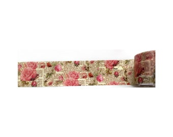 Floral Newsprint Washi Tape - 30mm - Scrapbooking Embellishment Gift Wrapping - Love My Tapes - 502001