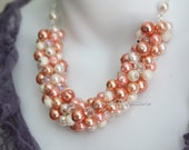Coral Cluster Necklace, Coral Necklace, Coral Jewelry, Coral Bridesmaids Necklace, Shades of Coral Necklace
