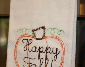 Personalized Stitched Happy Fall Kitchen Towel