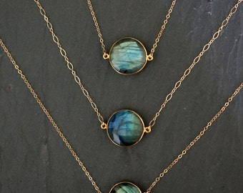 Labradorite Necklace / Gold Labradorite Necklace / Labradorite Jewelry / Layering Necklace / Gift for Mom / Mother's Day Gift