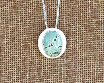Oval Sterling Silver and Turquoise Necklace