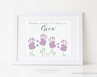 Grandma Gift, Mother's Day Handprint Flower Personalized Art Print, Gift for Grandmother, Thank You For Helping me Grow 8x10 or 11x14 print
