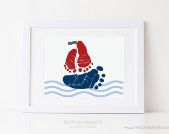 Nautical Nursery Art, Sailboat Baby Footprint Art Print, Red, Navy, Gray  Baby Boy Room, Personalized with Your Child's Feet, UNFRAMED