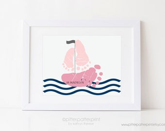Girls Nautical Nursery Art, Sailboat Baby Footprint Pink Navy Room Decor, Ocean, Sea, Personalized with Your Child's Feet, UNFRAMED
