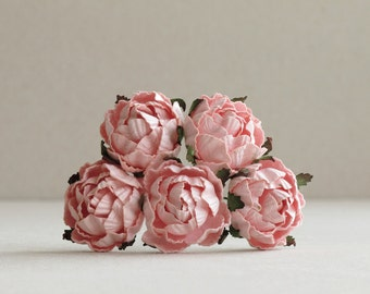 30mm Rose Pink Paper Peonies (5 pieces) - Small mulberry paper flowers with wire stems [124]