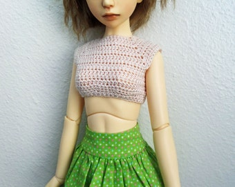 Crochet Crop Top for MSD ball jointed dolls In Natural