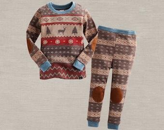 kids Nordic Pattern pajamas - Brown /  PJs / Pajamas for kids / toddler size 12M-6