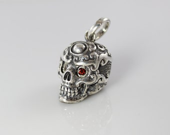 Handmade Sterling Silver Flaming Skull with Garnet Eyes Pendant