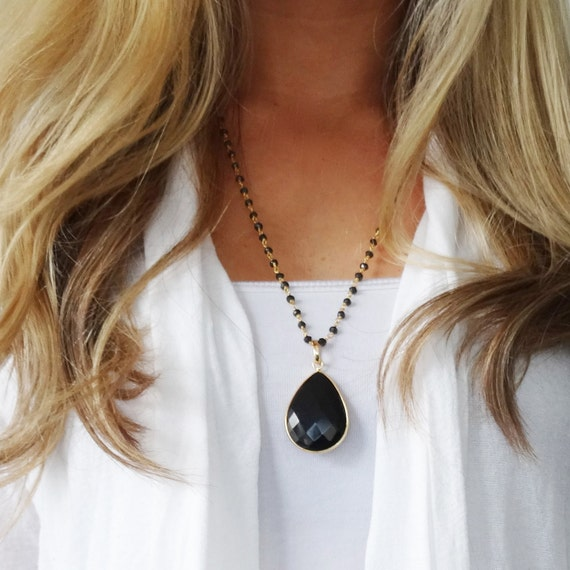 Long Black Necklace, Gold Necklace, Long Necklace, Gemstone Necklace, Black Onyx Necklace, Black Pendant, Rosary Chain, Dainty Necklace