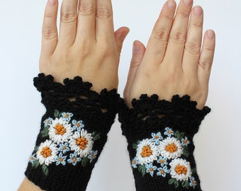 Knitted Fingerless Gloves, Chamomile, Forget-Me-Not, Wrist Warmers, Black,Clothing And Accessories, Gloves & Mittens