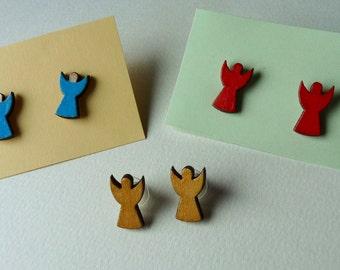 Wooden angels stud earrings Laser cut small earrings in red blue or golden