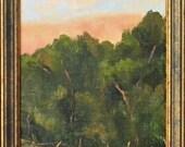 Foothills Grove - California plein air landscape 8x16 original oil painting framed